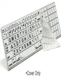 Logickeyboard LargePrint Black on White Clear Alu Keyboard Skin | Large Printed Silicone Keyboard Cover - LS-LPRNTBW-M89-US