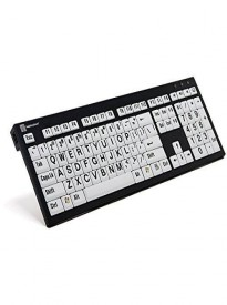 Logickeyboard LargePrint Nero Black on White PC Keyboard | XL Printed Slim Line Keyboard Black on White -LKBU-LPBW-BJPU-US