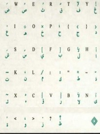 Two (2) Pieces - Transparent Keyboard Stickers, Overlays, Labels: Arabic Green Characters for Beige / Ivory / White Keyboards