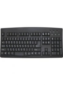 Black Korean English Computer Keyboard - Black Keys White Letters / Characters Wired USB Plug - White Characters on Black Keys - Bilingual Korean English Black USB Wired Keyboard